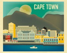 Cape Town South Africa Skyline Horizontal print by loosepetals