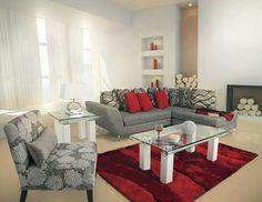 Today I want to share different ideas of How to decorate your living room this the fashion changes constantly and also in the field of interior decoration Charcoal Sofa Living Room, Grey And Red Living Room, Glam Living Room, New Living Room, Living Room Modern, Living Room Sofa, Home And Living, Living Room Designs, Living Room Decor