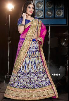 Exotic Pink And Blue A-Line Party Wear Lehenga Choli-48008