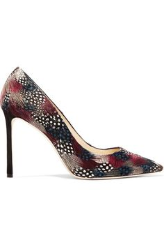 Jimmy Choo | Romy feather-embellished suede pumps | NET-A-PORTER.COM (affiliate)