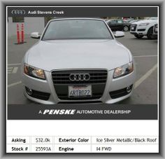 2011 Audi A5 2.0T Premium Convertible  Power Convertible Roof, Body-Colored Bumpers, Tires: Width: 245 Mm, Seatback Storage: 2, Intercooled Turbo, Auxilliary Engine Cooler, Audio Controls On Steering Wheel, Braking Assist, Front And Rear Suspension Stabilizer Bars,