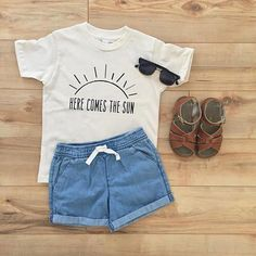 Here Comes the Sun - Cream (Organic) Kids clothes Baby Clothes Baby Boy Fashion, Toddler Fashion, Kids Fashion, Fashion Outfits, Fashion Trends, Babies Fashion, Womens Fashion, Fashion Shirts, Fashion Wear