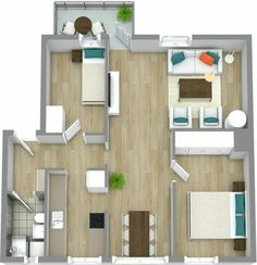 Are you a real estate professional? List your next property with professional 2D & 3D floor plans. See how! http://www.roomsketcher.com/floorplans/   3D floor plan for a 2 bedroom apartment with hardwood flooring and balcony, designed in RoomSketcher Pro, based on accompanying 2D floor plan.  #floorplan #realestate