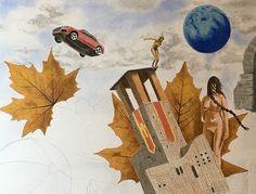 In costruzione #drawing #art #disegno #castle #leaf #car #paper #pastelpencil #pitt #illustration