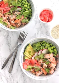 Oven Roasted Salmon Rice Bowl with edamame, pickled ginger and avocado! #borntosweat
