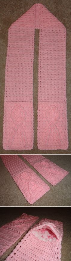 Breast Cancer Awareness Ribbon pocket scarf lined with Breast Cancer Awareness fabric