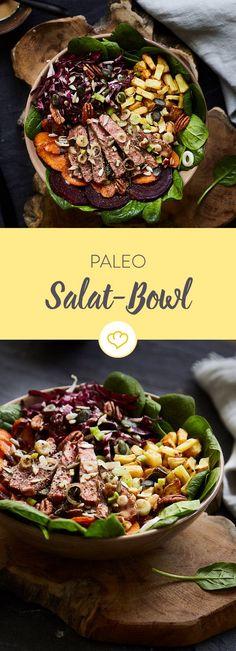 Spinat, Radicchio, Möhrchen, Rote Bete, Röstkartoffeln, saftige Steakstreifen und knusprige Nüsse - ob Salat in der Steinzeit auch schon so lecker war?