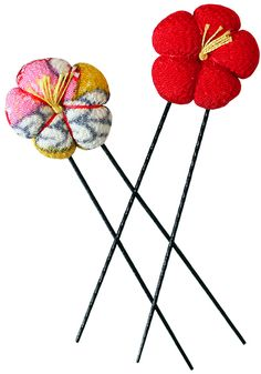 Kimono Hair Pins by Chidoriya Adorn your lovely locks with these charming Kimono Hair Pins! Simply slide the pins into your updo for instant Japanese flair. Handmade by skilled artisans in Kyoto, Japan using beautiful kimono fabric. Assorted colors. Afflink.