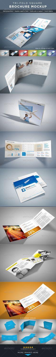 Square Tri-Fold Brochure Mock-ups - GraphicRiver Item for Sale
