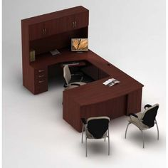 Global ZIRA - Computer corner with bow top desk and hutch ZL-5.  Available for online purchase at Ugoburo.ca