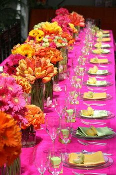 Wedding, Flowers, Reception, Pink, Green, Ceremony, Orange, Yellow. My colors only maybe a little less pink.  I really love the simplicity of the flowers, just bunches of all the same, not elaborate arrangements