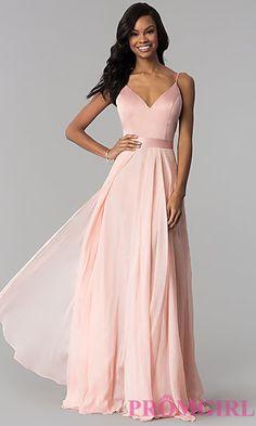 Long Chiffon and Satin V-Neck Prom Dress