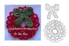 Isn't this pretty? Here is a beautiful little Christmas ornament featuring a wreath with a bow! -Lee Ann H. Christmas Yarn, Crochet Christmas Decorations, Christmas Tree Garland, Christmas Crochet Patterns, Holiday Crochet, Christmas Angels, Handmade Christmas, Christmas Crafts, Crochet Santa