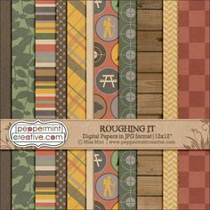 Roughing It Papers - $1.60 : Peppermint Creative, Digital Scrapbook Supplies