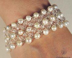 pearl-n-crystal bracelet B274 by Fleur-de-Irk.deviantart.com