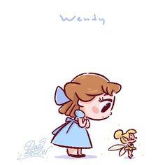 Disney Chibies's of Wendy & Tinkerbell Facebook.com/artofdavidgilson/ davidgilson.tumblr.com/ #PeterPan #WendyDarling #Tinkerbell #Clochette #féeclochette #Disney #fanart #DavidGilson