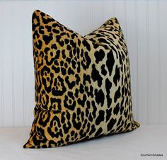 The fabric is Jamil Natural Leopard Velvet by Braemore (100% cotton velvet - 34.5 repeat) soil and stain repellant. Credit for the design goes to
