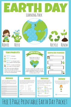 More Excellent Me is offering an 8 page FREE printable Earth Day packet just in time for Earth Day. The packet teaches children what Earth Day is, why we celebrate it and what we can do to help the Earth. Earth Day Activities, Learning Activities, Activities For Kids, Earth Day Projects, Earth Day Crafts, Earth Day Tips, Earth Craft, Teaching Science, Teaching Kids