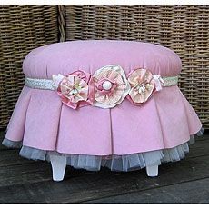 Round footstool-in pink, of course!