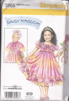 Simplicity Daisy Kingdom Pattern 3865 Childs Dress Capelet Wand Size AA 3-6 UC #SimplicityDaisyKingdom