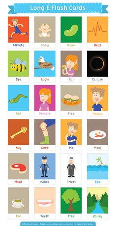 Free printable long E flash cards. Download them in PDF format at http://flashcardfox.com/download/long-e-flash-cards/