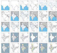 RESSOURCES - Cartes géographiques de l'Inde à imprimer : contours, frontières, états, villes...