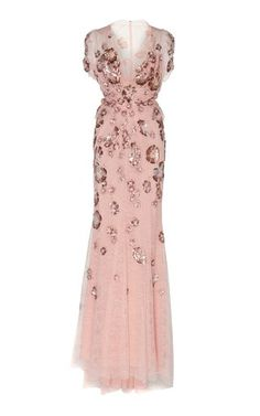 This **Jenny Packham** Ela Sequin Lace Gown features a v neckline, floral sequin details, and a sheer lace back. White Lace Gown, White V Neck Dress, Lace Dress, White Evening Gowns, White Ball Gowns, Evening Dresses, Long Sequin Dress, Sequin Gown, Zuhair Murad