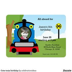 Sold. Cute #train #birthday #invitation #kids #partysets Available in different products. Check more at www.zazzle.com/celebrationideas