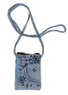 Blue Denim Mini Crossbody Cell Phone Pouch Purse Handbag with Beaded Design Denim Bag Patterns, Purse Patterns, Denim Handbags, Purses And Handbags, Cell Phone Pouch, Blue Jean Purses, Denim Purse, Denim Crafts, Diy Couture