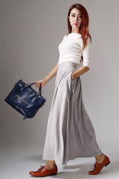 Light gray skirt linen skirt maxi skirt women skirt (1041) by xiaolizi on Etsy https://www.etsy.com/listing/196415859/light-gray-skirt-linen-skirt-maxi-skirt