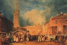LOUTH, LINCOLNSHIRE. suggested date : 1827 / 1828. watercolour. 29 × 42 cm. Provenance : Turner's Picturesque Views in England and Wales. London. British Museum.