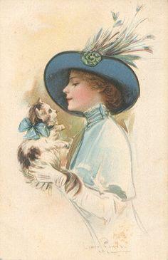 FASHION BELLE AND CAT FRIENDS EXCELLENT postcard
