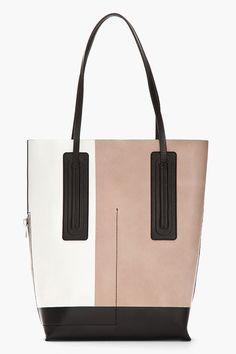 RICK OWENS Medium Beige Colorblocked Leather Shopper Tote