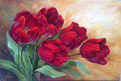 Tulipas - Douglas Frasquetti Tulip Painting, 5d Diamond Painting, Painting & Drawing, Art Floral, Cross Paintings, Art Paintings, Red Tulips, Watercolor Flowers, Flower Art
