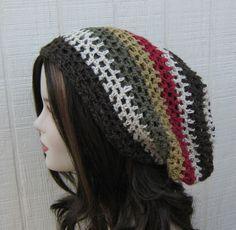 Slouchy beanie, Hemp Wool Tam, Hippie hat, Dread Tam, woman slouchy beanie, man slouch hat, hemp beanie, wool hat, striped slouchy hat, tam