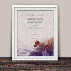 Tale of Two Wolves - Native American - Literary Print - Cherokee Tale - Inspirational Art - Spiritual Gift - Unframed Print - Serenity