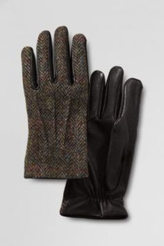 Men's Harris Tweed Inset Gloves from Lands' End