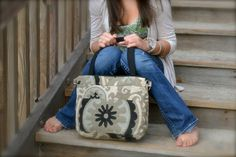 Purse,  Linen Print in Taupe and Black day bag, Zipper top, cross body messenger travel bag  by Darby Mack