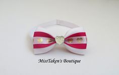 White+&+Pink+Heart+Pet+Bow+Tie Plastic+Hook+&+Clip+Closure Condition:+Brand+New,+Handmade,+Lightweight+&+Comfortable ✿+Collars+are+for+fashion+purposes+only.+Please+always+supervise+your+fur+baby+wh. Pet Accessories, Grosgrain Ribbon, Fur Babies, Collars, Bows, Plastic, Closure, Tie, Boutique