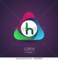 logo letter H colorful icon in the triangle shape, Vector design template…