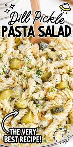 This dill pickle pasta salad features tangy and crunchy dill pickles, tender rotini pasta, and cheddar cheese drizzled with a creamy homemade dressing. Creamy Pasta Salads, Summer Pasta Salad, Summer Salads, Pasta Salad Recipes Cold, Healthy Pasta Salad, Easy Pasta Salad Recipe, Recipes With Pasta, Easy Pasta Meals, Best Ever Pasta Salad
