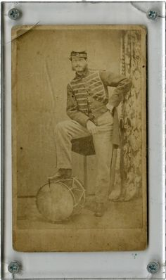 Most Unusual Pose, CDV Portrait of a Civil War Federal Infantry Drummer.