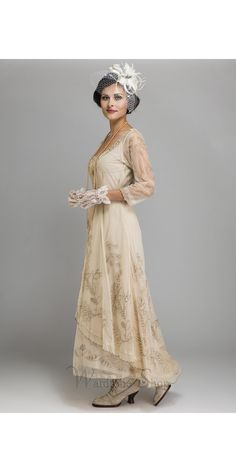Downton Abbey Tea Party Gown in Pearl by Nataya Older Bride, Casual Wedding, Boho Wedding, Wedding Gowns, Dream Wedding, Mother Of The Bride Gown, Vintage Style Dresses, Dress Vintage, Tea Length Dresses