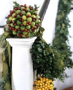 Key lime balls - Attach key limes and cranberries to a 3-inch styrofoam ball with floral pick or heavy duty toothpick