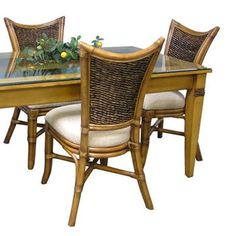 Rectangular Dining Set includes six dining side chairs and x rectangular table with glass top. Clear Dining Chairs, Wicker Dining Set, Round Dining Set, 7 Piece Dining Set, Square Dining Tables, Dining Arm Chair, Side Chairs, Beveled Glass, Rattan