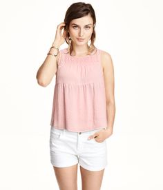 Pastel pink tiered top with embroidered chiffon panel. | H&M Pastels