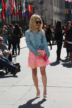 Caitlin Hartley of Styled American how to wear a denim top with a skirt http://styledamerican.com/denim-top/