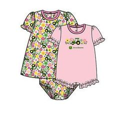 3 Piece John Deere Infant Set Pink With Flowers and Tractors – GreenToys4u.com