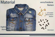 Jeansjacke mit Nieten aufpeppen - Ganz leicht! Einfach klicken und Schritt für Schritt Bilder-Anleitung ansehen. #diy #nieten #jeansjacke #denim