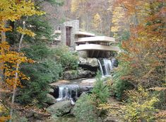 Fallingwater is built over a waterfall. Today, it is a National Historic Landmark. The house appears not to stand on solid ground, but to stretch out over a 30′ waterfall. The house was designed as weekend retreat for the Kaufmann family and finished in 1934. Since 1963 it has been opened to the public.
